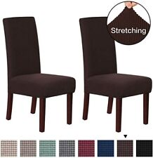 DINING CHAIR COVER, STRETCH POLYESTER SEAT PROTECTOR SLIPCOVERS, BROWN PACK OF 2