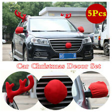 Car Body Christmas Elk Plush Antlers/Nose/Mirror Cover Styling Decor Accessories