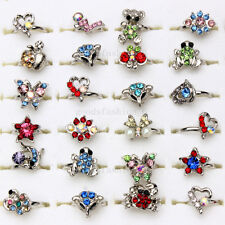 50Pcs Wholesale Mix Lots Cute Crystal Children Kids Silver Adjustable Rings