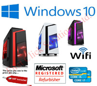 Gaming PC Quad Core Intel i7 Computer SSD 4-16 GB RAM GT GTX GFX Windows 10 WiFi