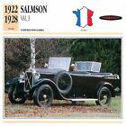 Salmson Val 3 Décapotable 4 Cyl. 1922-1928 France CAR VOITURE CARTE CARD FICHE