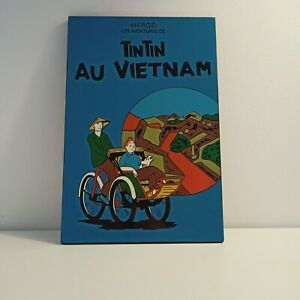Lacquer Art Herge Les ADVENTURES de TINTIN en Vietnam Wall Hanging Plaque 28cm H