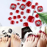 Manicure French Style False Nails with Glue Foot Fake Toes-Nails Rhinestone