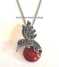 Silver Rhodium Plated Marcasite Hummingbird Necklace Cubic Zirconia Stone 19""