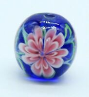 10pcs exquisite handmade Lampwork glass beads blue pink flower round 15mm