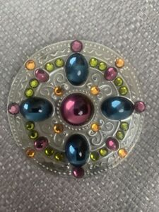 Large Gill Clement Pewter Colourful Jewelled Brooch