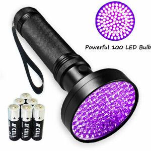 UV Ultra Violet 100-LED Flashlight Blacklight Detection Outdoor Torch Lamp Light