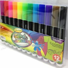 12 x Fabric Markers Textile Marker Pens Fabric Clothes T-Shirt Art Marker
