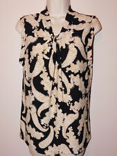 New Tommy Hilfiger knot collar gold, white & black  sleeveless blouse Large