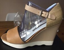 French Connection Leather And Straw Wedges BNWT!!