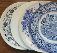 "Set of 4 Blue & White Mismatched China Ironstone Bread Dessert Cake Plates - 6"""