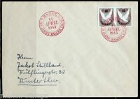 SWITZERLAND MICHEL#BL12 IMPERF PAIR FROM BASEL DOVE S/S FIRST DAY COVER