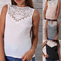 Women Summer Lace Vest Sleeveless Blouse Casual See Through Tee Tank Top T-Shirt