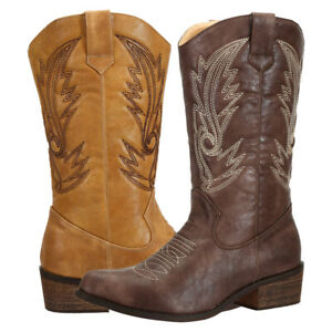 SheSole Ladies Classic Cowgirl Cowboy Boots PU Leather Western Shoes Brown Tan