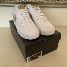 Nike Air Force 1 | WHITE/OBSIDIAN/TAN | UK 6 | Removable Swoosh Pack |848187-009