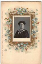 "VFine Cond. Antique Postcard w Inset Photo Portrait of Woman RPPC ""Prussia"" -P4"