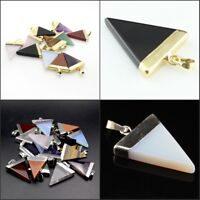 Natural Gemstones Silver Gold Triangle Bead Reiki Chakra Pendant for Necklace