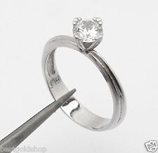 0.60ct  Size 7 Wedding Engagement CZ Band Ring Real 14K White Gold 3.1gr