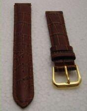 Cinturino orologio 15 mm vera pelle marrone fibbia dorata nuovo