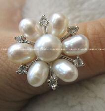 freshwater pearl white flower ring wholesale 7.5#