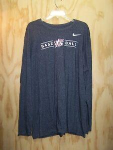 THE NIKE TEE  Athletic Cut Printed US BASEBALL Size XXL Gray Long Sleeve