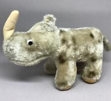 Rhinoceros Mohair Wool Plush Japan 14cm 5.5in Label Glass Eyes Felt Horn 1960s