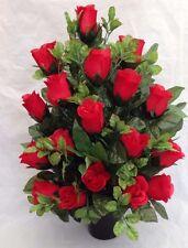 Christmas Grave Pot Artificial Silk Flower Flat Back Rose Memorial Tribute