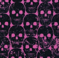 Michael Miller Gothic Black Numb Skulls on Hot Pink Cotton Fabric - FQ