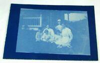 Antique c 1910 Outdoor Family Children Dog RPPC Real Photo Postcard Cyanotype
