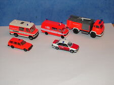 N°1 WIKING HERPA ROCO LOT DE 5 VEHICULES DE POMPIERS INTERVENTIONS ACCIDENTS HO