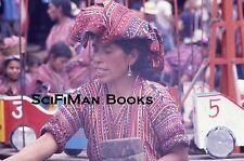Vintage 35mm Slide Guatemala Market Pretty Woman Hat Cars Costume Fashion 1970s!