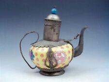 Vintage Bronze Kwan-Yin Yellow Porcelain Flowers Painted Decor Teapot w/ Pi-Xiu