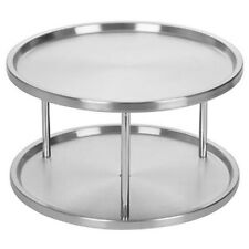 2X(Spice Rack Stainless Steel Organizer Tray 360 Degree Turntable Rotating 6J7)