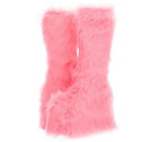 """Women's Pink 5"""" Furry Platform Gogo Dancer Knee-High Boots - Size 10"""