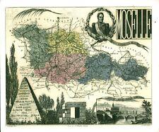 Réédition de gravure ancienne carte région département français Moselle