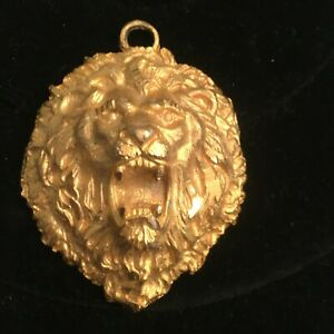 Lion Figural Pendant Repousse Roaring High-end Nashville Estate Jewelry Vintage