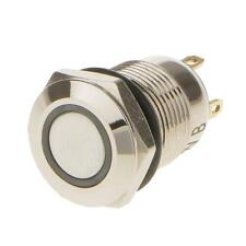 Stainless Steel 12V Blue LED Push Button Switch Push ON/OFF Waterproof 12mm