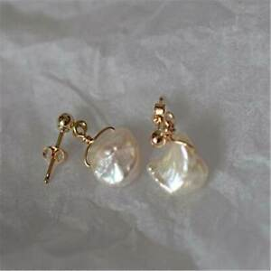 1 Pair 12-13mm White Baroque Pearl Earring 18k Ear Stud Party Classic Earbob