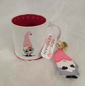 Valentine GNOME MUG & KEYCHAIN SET Prima Coffee Cup Red White Hearts Dots
