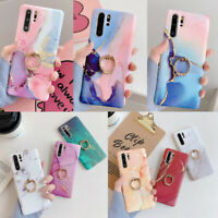 For Huawei P40 P30 P20 Mate 30 20 Pro Marble Soft Silicone Ring Stand Case Cover