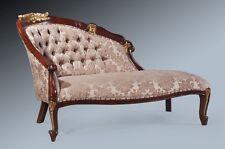 Luxury French Classical Part Gold Leaf Mocha Damask Chaise Longue Sofa Loveseat