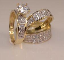 Diamond His & Her Engagement Bridal Trio Ring Set 14K Yellow Gold Finish 3.00 Ct