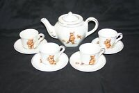 Sporting Bears Pottery - Small Teapot with 4 Cups & Saucers