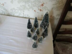 LEMAX Fir Trees (snow tipped) set of 10 various sizes used (set 3)