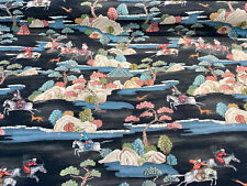 Sakai Charcoal Toile Chinoiserie Vintage Drapery Upholstery Fabric by the yard