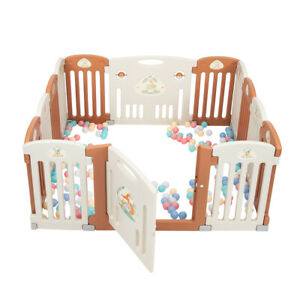 Baby Playpen Kids 14 Panel Safety Play Center Yard Home Indoor Pen Fence BR