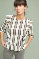 Anthropologie Isabella Sinclair Johanna Striped Ruffle Blouse Top L NWT