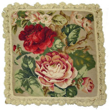 Needlepoint Pillow | Handmade Wool Dark Red and Pink Cabbage Roses Cushion 22x22