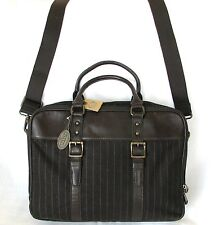 NEW FOSSIL BROWN STRIPE WOOL+LEATHER WORK BRIEFCASE,CROSS BODY+MESSENGER BAG