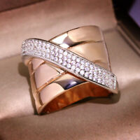 Unique Geometric White Sapphire Silver Rose Gold Two Tone Ring Wedding Jewelry